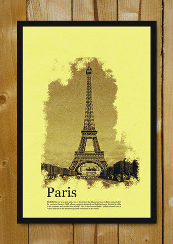 Glass Framed Posters, Eiffel Tower Paris Vintage Postcard Glass Framed Poster, - PosterGully - 1