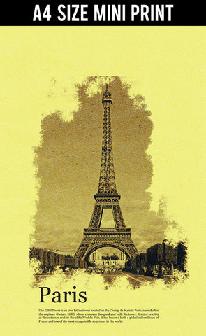 Mini Prints, Eiffel Tower | Paris | Vintage Postcard | Mini Print, - PosterGully