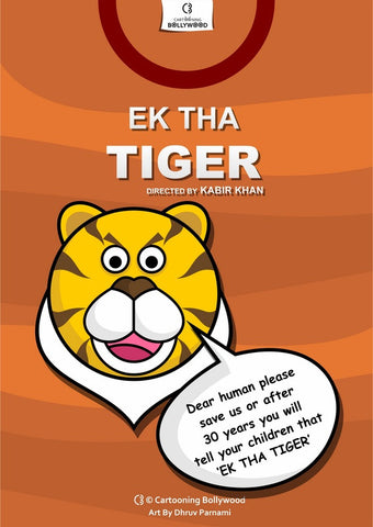 PosterGully Specials, EkTha Tiger Cartoon Art, - PosterGully