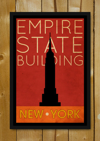 Glass Framed Posters, Empire State Building New York Vintage Glass Framed Poster, - PosterGully - 1