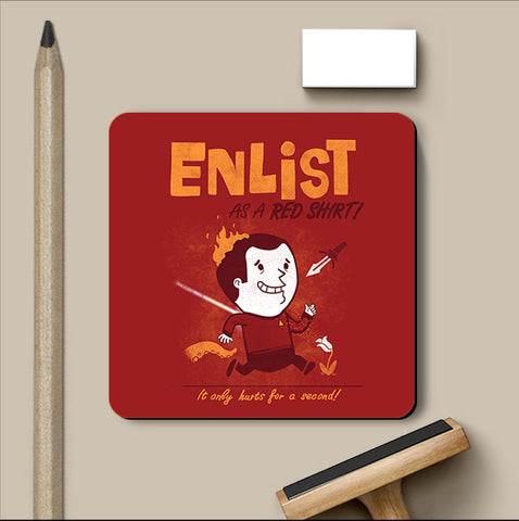 PosterGully Coasters, Enlist - Red Coaster | By Captain Kyso, - PosterGully