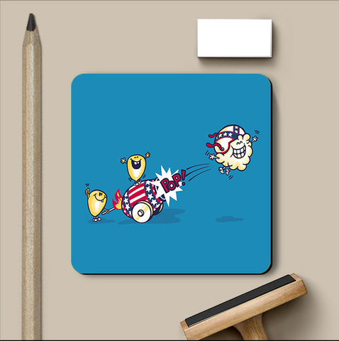 PosterGully Coasters, Evil Cornival Blue Coaster | By Captain Kyso, - PosterGully