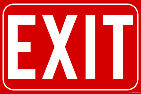 Wall Art, Exit Sign, - PosterGully