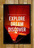 Glass Framed Posters, Explore Dream Discover Motivational Glass Framed Poster, - PosterGully - 1