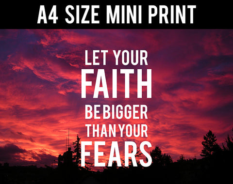 Mini Prints, Faith Fears Motivational | Mini Print, - PosterGully