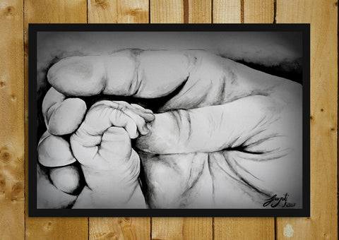 Glass Framed Posters, Father Son Relation Sketch Glass Framed Poster, - PosterGully - 1