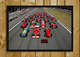 Glass Framed Posters, Ferrari Lineup Formula One Glass Framed Poster, - PosterGully - 1