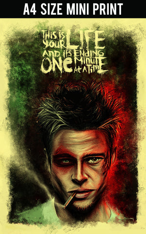 Mini Prints, Fight Club | Brad Pitt Artwork | Mini Print, - PosterGully