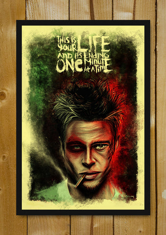 Glass Framed Posters, Fight Club Brad Pitt Artwork Glass Framed Poster, - PosterGully - 1