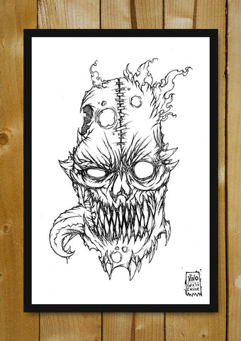 Glass Framed Posters, Flaming Skull Line Art Glass Framed Poster, - PosterGully - 1
