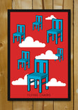 Glass Framed Posters, Flying Chairs Red Sky Glass Framed Poster, - PosterGully - 1
