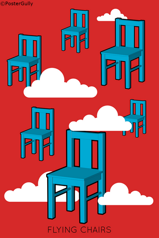 Wall Art, Flying Chairs Red Sky, - PosterGully
