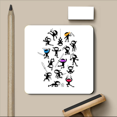 PosterGully Coasters, Four Special Ninjas Coaster | By Captain Kyso, - PosterGully