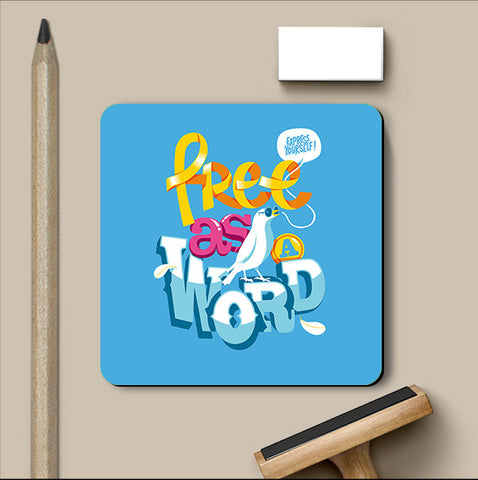 PosterGully Coasters, Free As A Word Coaster | By Captain Kyso, - PosterGully