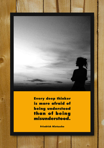 Glass Framed Posters, Friedrich Nietzsche Deep Thinker Glass Framed Poster, - PosterGully - 1