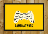 Glass Framed Posters, Gamer At Work Yellow Glass Framed Poster, - PosterGully - 1