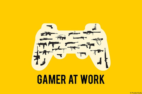 Wall Art, Gamer At Work Yellow, - PosterGully
