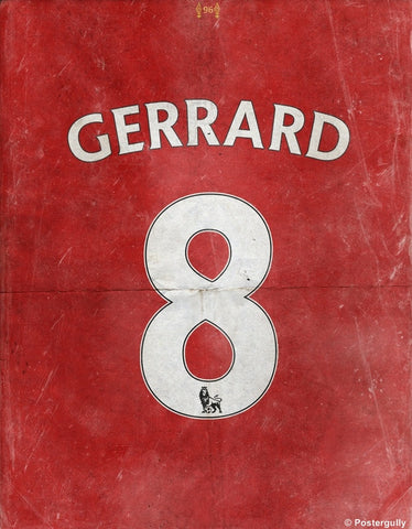 PosterGully Specials, Gerrard No. 8 Minimal Football Poster, - PosterGully