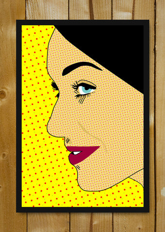 Glass Framed Posters, Girl Side Face Pop Art Glass Framed Poster, - PosterGully - 1