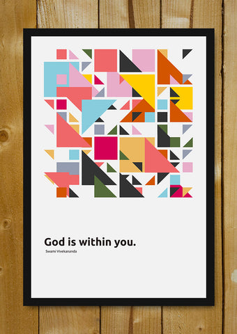 Glass Framed Posters, God Is Within You Swami Vivekananda Quote Glass Framed Poster, - PosterGully - 1