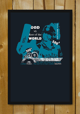 Glass Framed Posters, God Vs Rest Of The World Sachin Tendulkar Glass Framed Poster, - PosterGully - 1