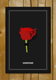 Glass Framed Posters, Godfather Minimal Red Rose Glass Framed Poster, - PosterGully - 1