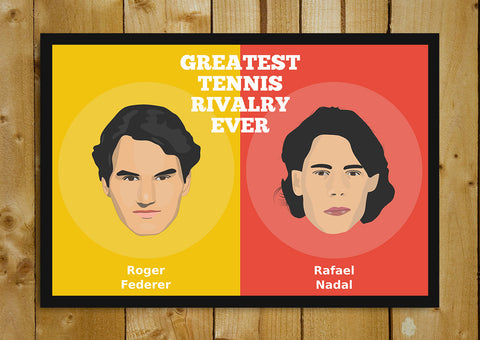 Glass Framed Posters, Greatest Tennis Rivalry Federer Nadal Glass Framed Poster, - PosterGully - 1