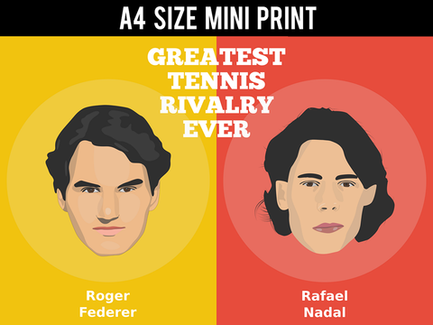 Mini Prints, Greatest Tennis Rivalry Federer Nadal | Mini Print, - PosterGully