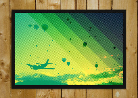 Glass Framed Posters, Green Parachutes And Aeroplane Glass Framed Poster, - PosterGully - 1