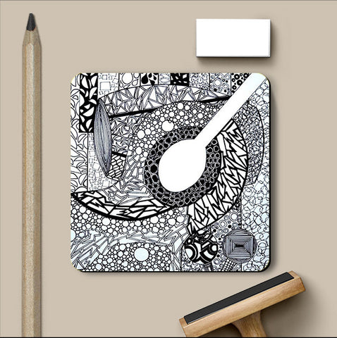 PosterGully Coasters, Guitar Doodle Coaster | Artist: Ananya Kumar, - PosterGully