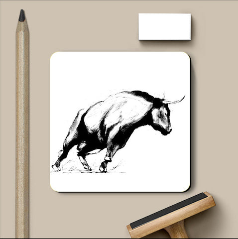 PosterGully Coasters, Happy Bull Coaster | Artist: Sunanda Puneet, - PosterGully