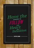 Glass Framed Posters, Heart Intution Steve Jobs Motivational Glass Framed Poster, - PosterGully - 1