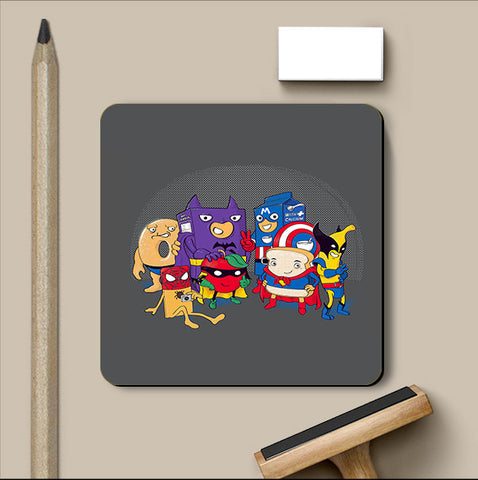 PosterGully Coasters, Heroic Breakfast Light Grey Coaster | By Captain Kyso, - PosterGully