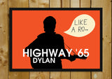 Glass Framed Posters, Highway 65 Bob Dylan Glass Framed Poster, - PosterGully - 1
