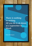 Glass Framed Posters, How To Write Ernest Hemingway Writer Glass Framed Poster, - PosterGully - 1
