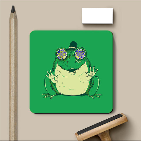 PosterGully Coasters, Hynogenic Toad- Green Coaster | By Captain Kyso, - PosterGully