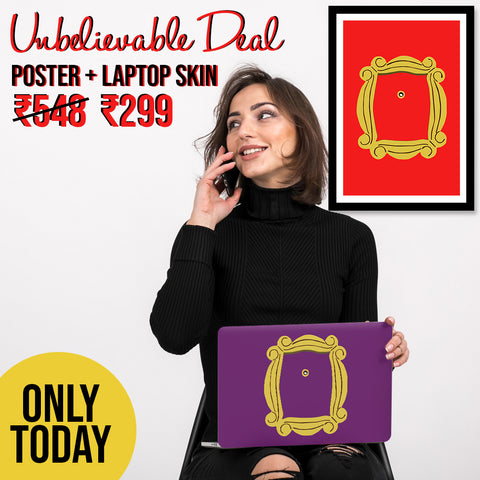 FRIENDS Peephole Laptop Skin & Poster Combo @ Unbelievable Rs. 299 - 30%+50% off TODAY ONLY