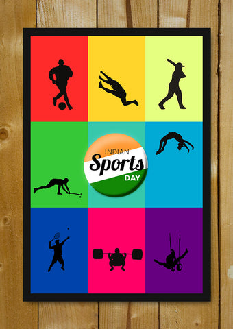 Glass Framed Posters, Indian Sports Day Glass Framed Poster, - PosterGully - 1