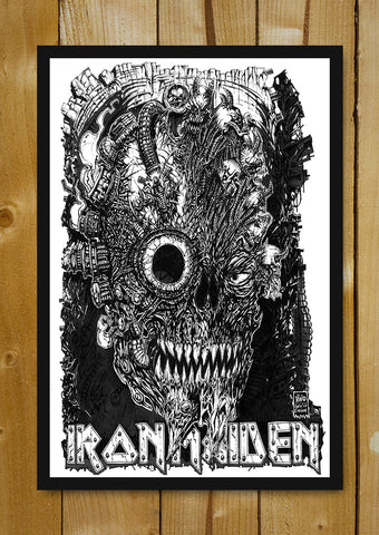 Glass Framed Posters, Iron Maiden Line Art Glass Framed Poster, - PosterGully - 1