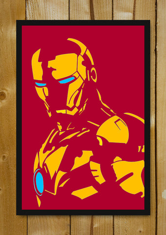 Glass Framed Posters, Iron Man Maroon  Minimal Art Glass Framed Poster, - PosterGully - 1