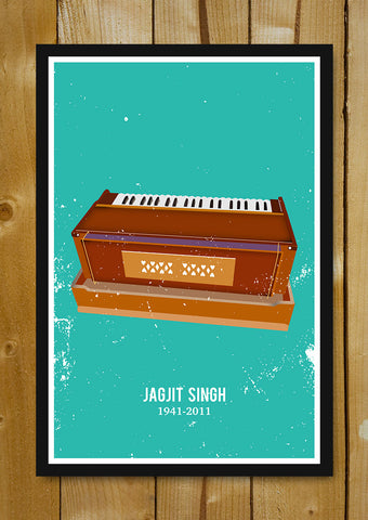 Glass Framed Posters, Jagjit Singh Harmonium Glass Framed Poster, - PosterGully - 1