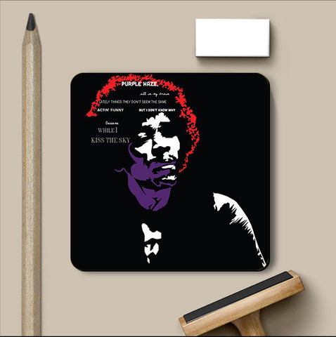 PosterGully Coasters, Jimi Hendrix Guitarist Coaster | Artist: Jaiwant Pradhan, - PosterGully