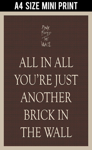 Mini Prints, Just Another Brick In The Wall Poster | Mini Print, - PosterGully
