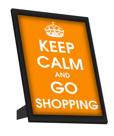Framed Art, Keep Calm And Go Shopping Framed Art, - PosterGully