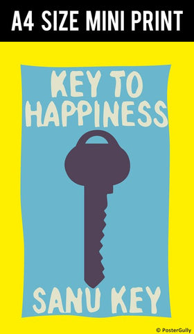 Mini Prints, Key To Happiness Humour | Mini Print, - PosterGully