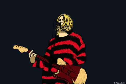 Wall Art, Kurt Cobain Playing Guitar | Nirvana, - PosterGully