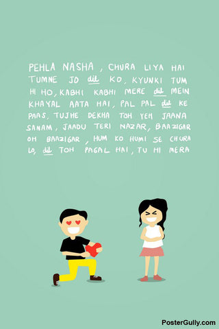 Wall Art, Pehla Nasha Love Illustration Artwork, - PosterGully - 1