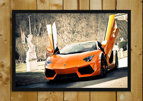 Glass Framed Posters, Lamborghini Aventador Mustard Glass Framed Poster, - PosterGully - 1