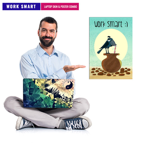 Work Smart  | Laptop Skin & Poster Combo