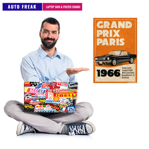 AUTO FREAK  | Laptop Skin & Poster Combo